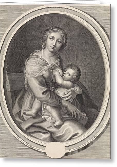 Mary Gives The Christ Child Breast Feeding Greeting Card