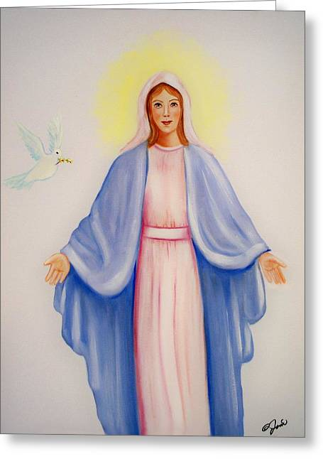 Greeting Card featuring the painting Mary by Joni McPherson