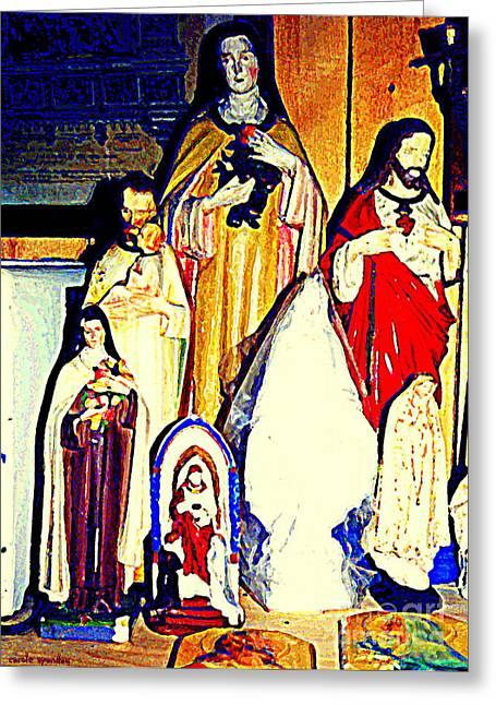 Mary Joseph And Jesus Vintage Religious Catholic Statues Patron Saints And Angels Cb Spandau Quebec Greeting Card by Carole Spandau