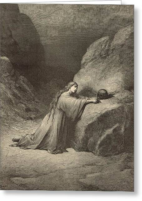 Mary Magdalene Greeting Card by Antique Engravings