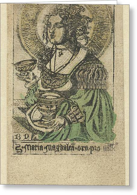 Mary Magdalene, Monogrammist Bd Graveur Greeting Card