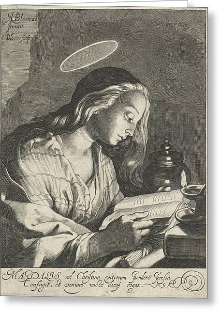 Mary Magdalene Reading, Cornelis Bloemaert II Greeting Card by Cornelis Bloemaert (ii)
