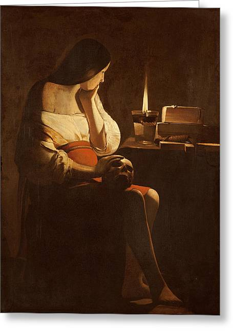 Mary Magdalene With A Night Light, C.1640-35 Oil On Canvas Greeting Card