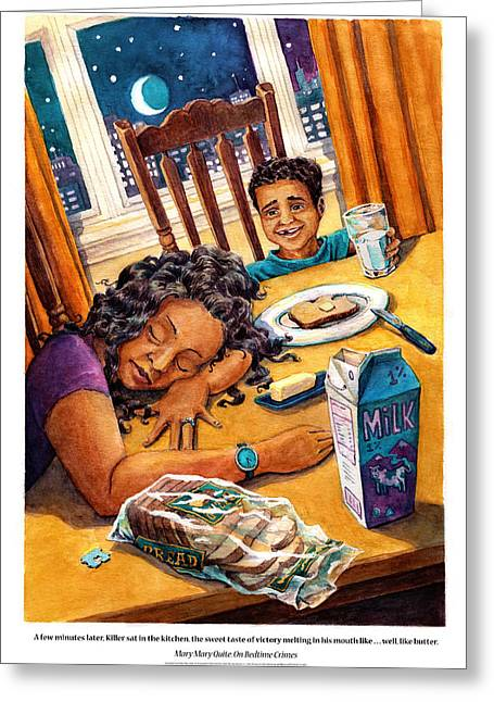 Mary Mary Quite On Bedtime Crimes Greeting Card by David Condry