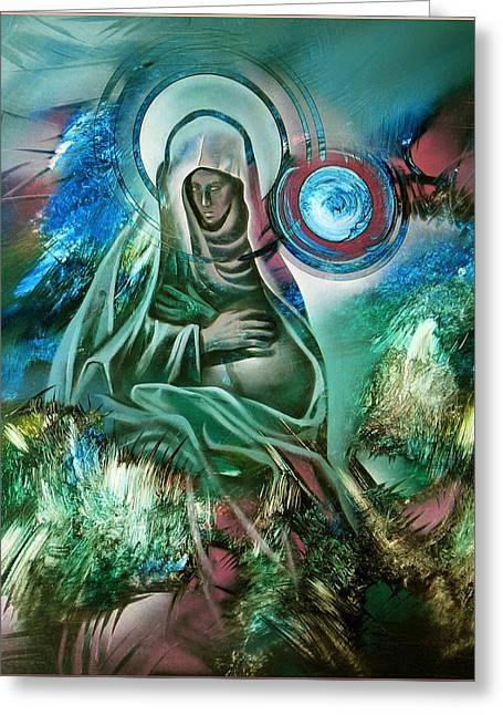 Mary Mother Of Jesus Greeting Card by Glenn Bautista