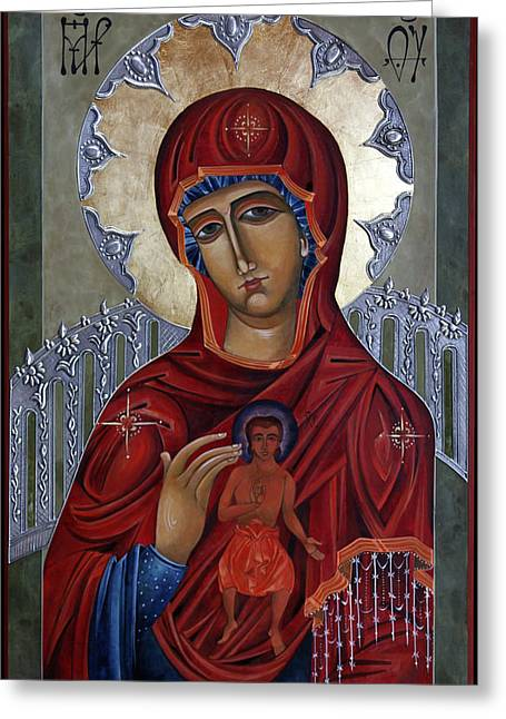 Mary Of The Burning Bush Greeting Card by Mary jane Miller