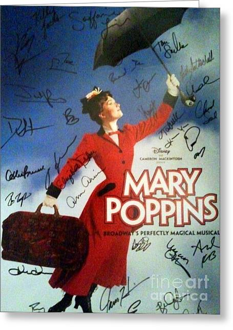 Mary Poppins Broadway Musical Poster Signed By The Cast Greeting Card by Christina Wysocki