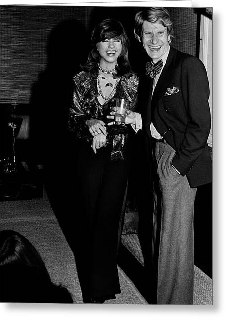 Mary Russell Laughing With Yves St. Laurent Greeting Card by Henry Clarke