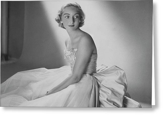 Mary Sargent Ladd Wearing A Tulle Dress Greeting Card by Clifford Coffin