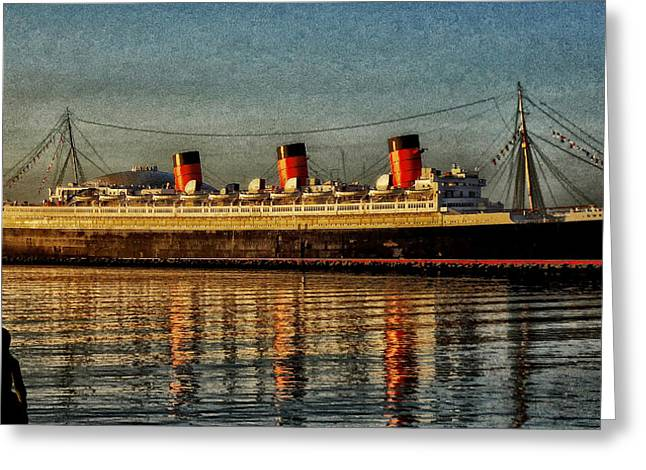 Mary Watches The Queenmary Greeting Card by Bob Winberry