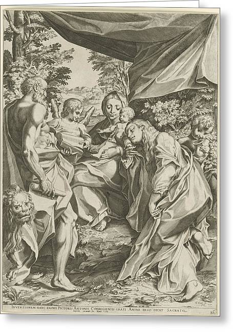 Mary With Child, Mary Magdalen And Jerome Greeting Card