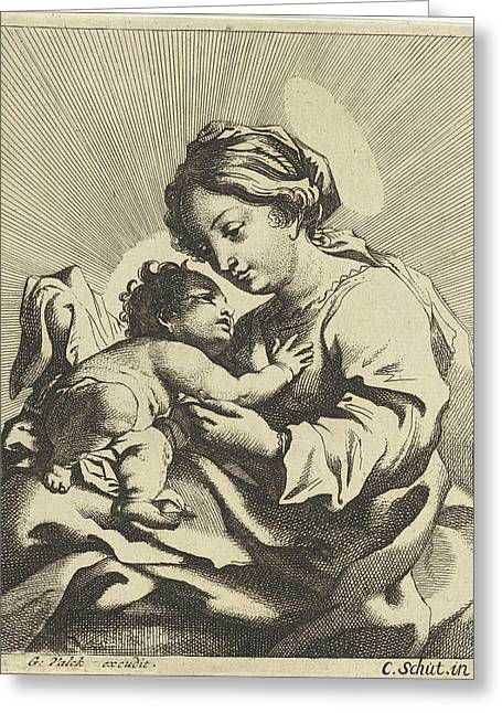 Mary With The Christ Child, Anonymous, Gerard Valck Greeting Card
