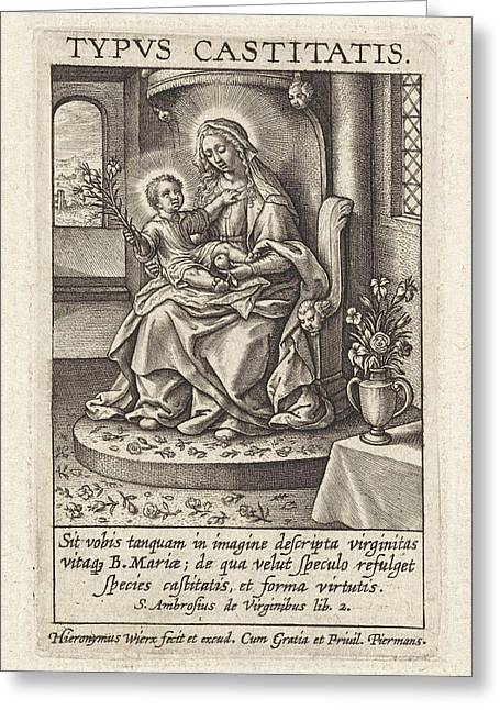 Mary With The Christ Child, Hieronymus Wierix Greeting Card by Hieronymus Wierix