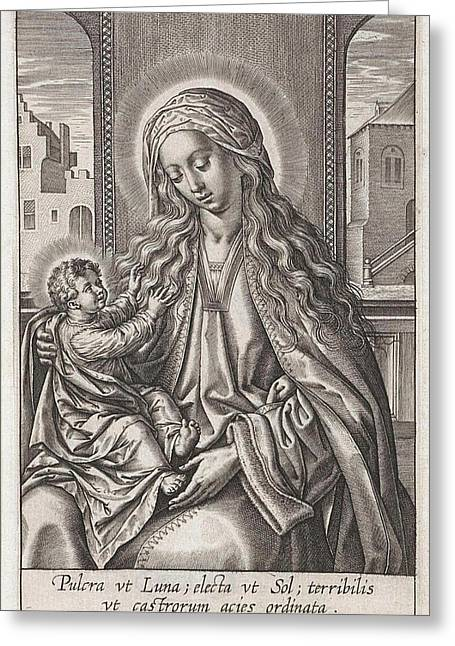 Mary With The Christ Child On Her Lap, Print Maker Greeting Card