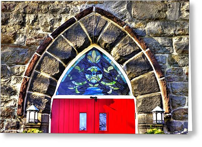 Maryland Country Churches - Saint Anthony Shrine Church Emmitsburg - Main Entrance Close1 Greeting Card by Michael Mazaika