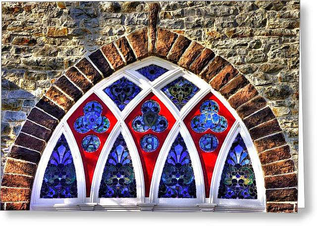 Maryland Country Churches - Saint Anthony Shrine Church Emmitsburg - Stained Glass Exterior Close1 Greeting Card by Michael Mazaika