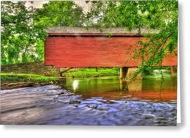 Maryland Country Roads - Peaceful Crossing - Loys Station Covered Bridge 3a Spring Greeting Card
