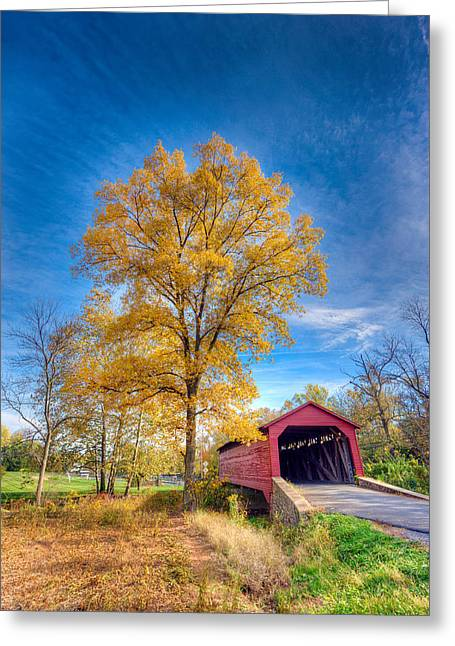 Maryland Covvered Bridge In Autumn Greeting Card