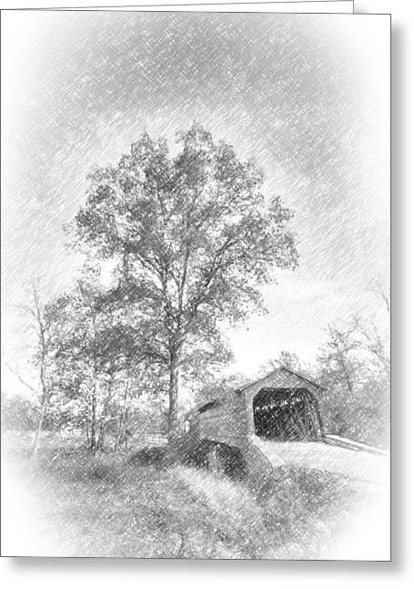 Maryland Covvered Bridge In Pencil Greeting Card