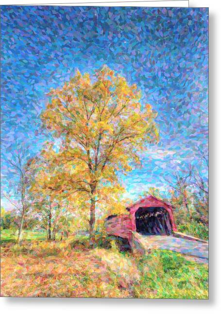 Maryland Covvered Bridge Oil Painting Greeting Card