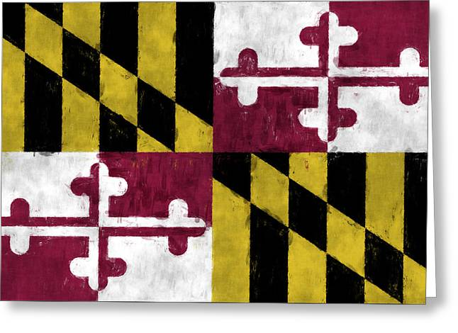 Maryland Flag Greeting Card by World Art Prints And Designs
