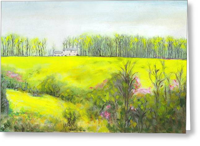 Maryland Landscape Springtime Rt40 East Original Painting Greeting Card