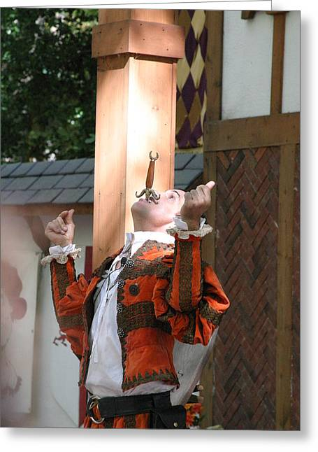 Maryland Renaissance Festival - Johnny Fox Sword Swallower - 121233 Greeting Card by DC Photographer