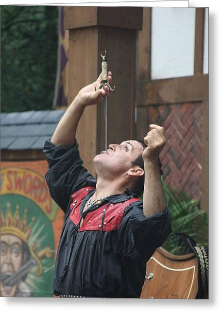 Maryland Renaissance Festival - Johnny Fox Sword Swallower - 121268 Greeting Card by DC Photographer