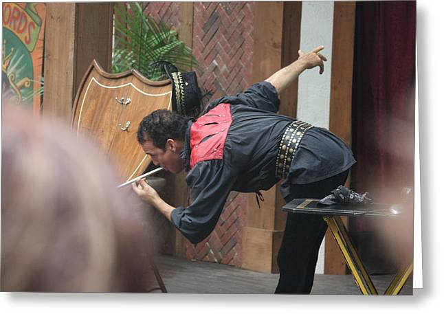 Maryland Renaissance Festival - Johnny Fox Sword Swallower - 121274 Greeting Card by DC Photographer