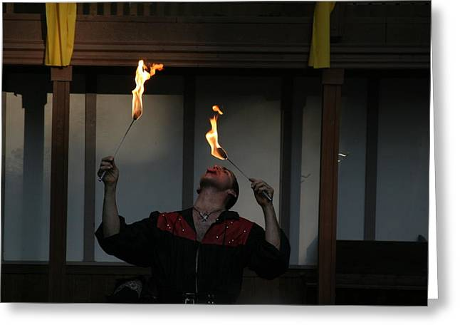 Maryland Renaissance Festival - Johnny Fox Sword Swallower - 121288 Greeting Card by DC Photographer