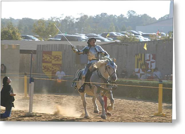 Maryland Renaissance Festival - Jousting And Sword Fighting - 1212157 Greeting Card by DC Photographer