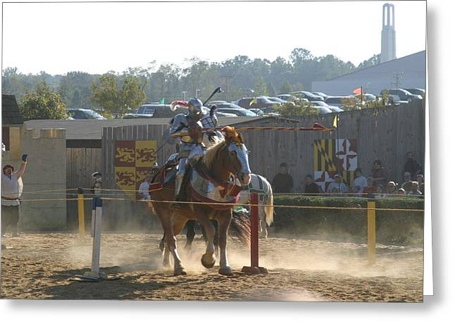 Maryland Renaissance Festival - Jousting And Sword Fighting - 1212187 Greeting Card by DC Photographer