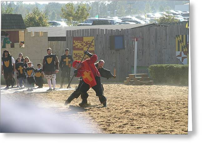 Maryland Renaissance Festival - Jousting And Sword Fighting - 121276 Greeting Card by DC Photographer