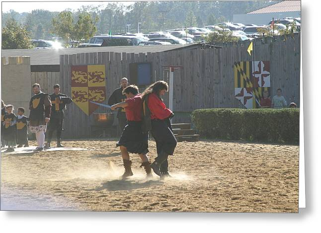 Maryland Renaissance Festival - Jousting And Sword Fighting - 121279 Greeting Card by DC Photographer