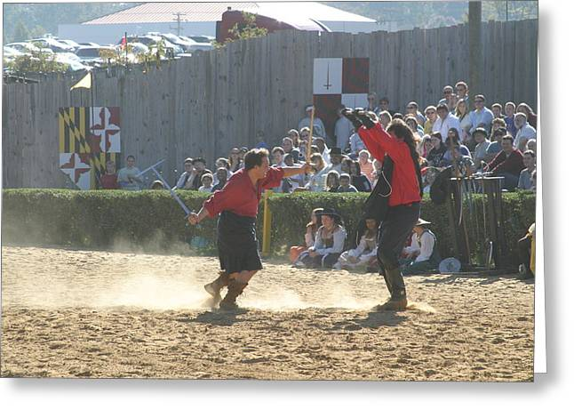 Maryland Renaissance Festival - Jousting And Sword Fighting - 121282 Greeting Card by DC Photographer