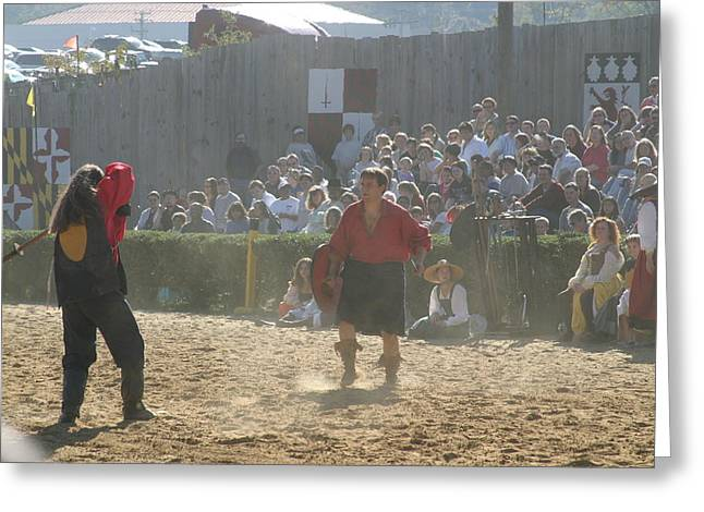 Maryland Renaissance Festival - Jousting And Sword Fighting - 121287 Greeting Card by DC Photographer