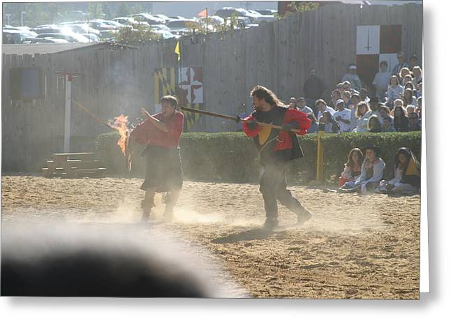 Maryland Renaissance Festival - Jousting And Sword Fighting - 121291 Greeting Card