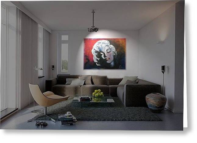 Marylin Monroe In The Living Room Greeting Card by Ri Mo