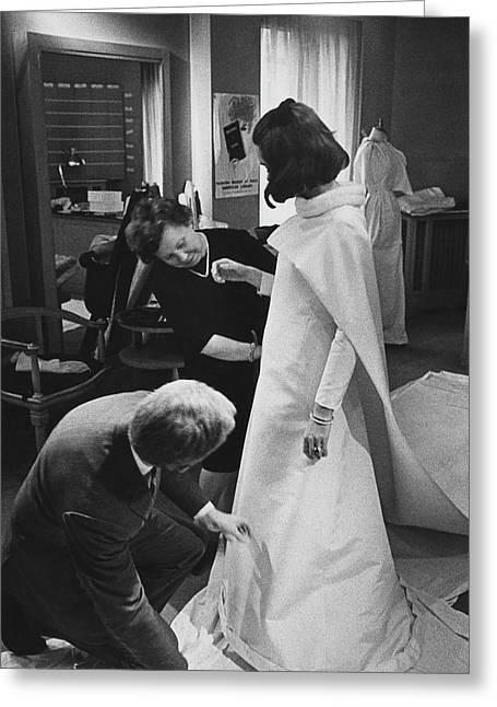 Maryll Orsini At A Wedding Dress Fitting Greeting Card by Edmund Duffy