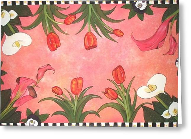 Greeting Card featuring the painting Marys Garden by Cindy Micklos