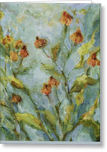 Greeting Card featuring the painting Mary's Garden by Mary Wolf