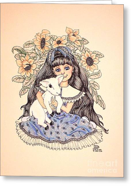 Mary's Lamb Greeting Card
