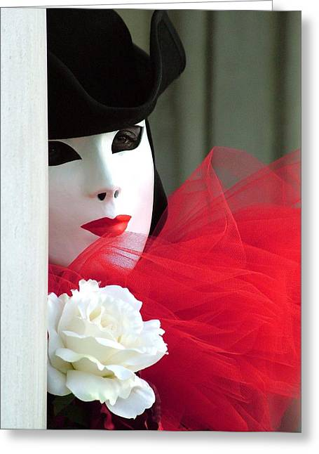 Marzia's Red Ruffle Greeting Card by Donna Corless