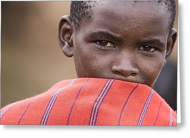 Greeting Card featuring the photograph Masai #1 by Antonio Jorge Nunes