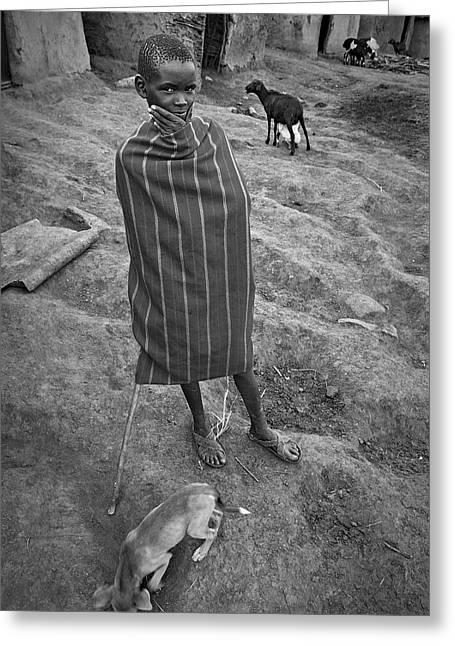 Greeting Card featuring the photograph Masai #3 by Antonio Jorge Nunes