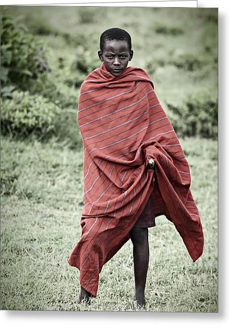 Greeting Card featuring the photograph Masai #4 by Antonio Jorge Nunes