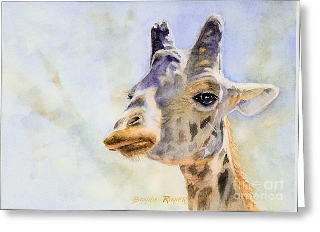 Greeting Card featuring the painting Masai Giraffe by Bonnie Rinier
