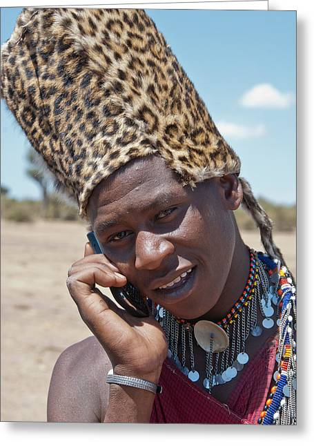 Masai Using Phone Greeting Card by Mesha Zelkovich