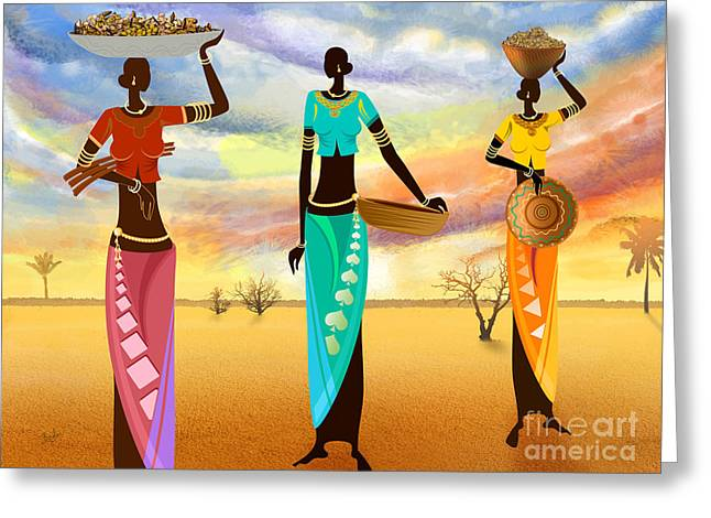 Masai Women Quest For Grains Greeting Card