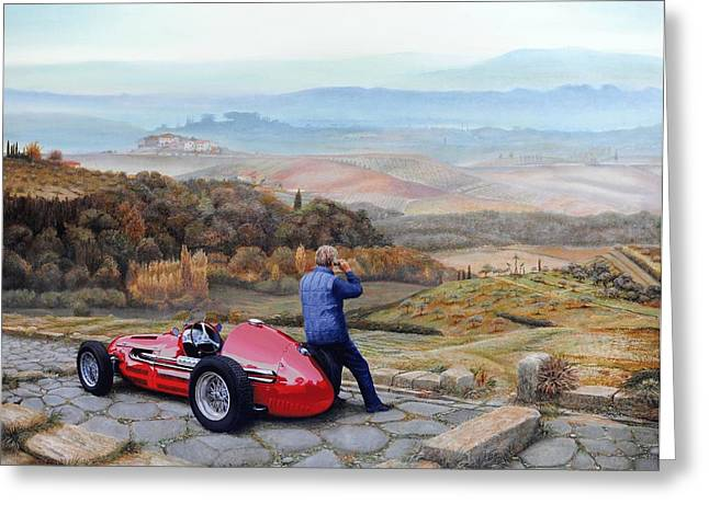 Maserati A6 Gcm, 2001 Oil On Canvas Greeting Card by Trevor Neal